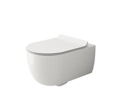 Унитаз подвесной Bocchi V-Tondo Rimless 54,5 см с тонким сиденьем Soft Close (Белый)