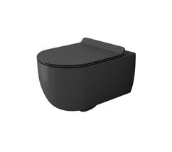 Унитаз подвесной Bocchi V-Tondo Rimless 54,5 см с тонким сиденьем Soft Close (Матовый антрацит)