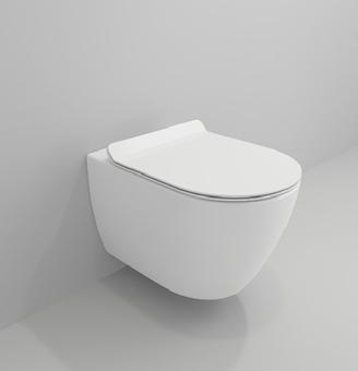 Унитаз подвесной Bocchi V-Tondo Compacto Rimless 49 см с тонким сиденьем Soft Close (Белый)