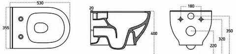 """Унитаз подвесной Brilla Rim ART (безободковый) с тонким сиденьем """"микролифт"""""""