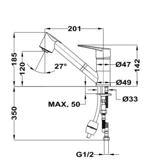 Кухонный смеситель Teka MANACOR 469781210 с выдвижным изливом