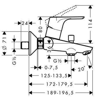 Смеситель для ванны и душа Hansgrohe Focus E2 (31940000)