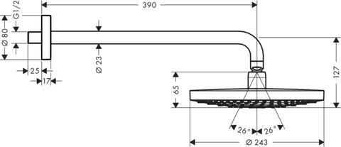 Верхний душ Hansgrohe Raindance Select S 240 2jet (26466000)