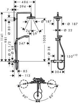 Душевая система Hansgrohe Croma Select S 180 2jet Showerpipe (27253400)