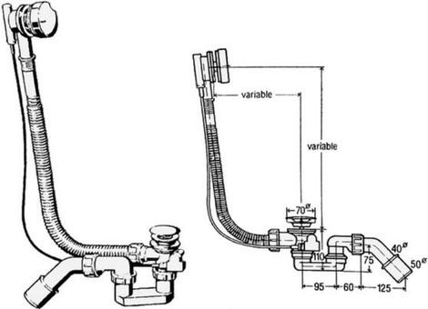 Сифон Viega для ванны автоматический (хром) 285357 стандартный