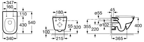 Унитаз подвесной Roca Gap 34647L000 35x54 безободковый