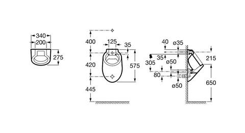 Писсуар Spun c подводом воды из стены A353147000