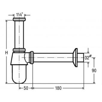 Сифон для умывальника латунный Viega (хром) (102845)