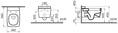 Унитаз подвесной Vitra Metropole Rim-ex (безободковый) с сиденьем микролифт (7672B003-6075)
