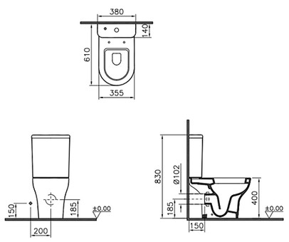 Унитаз-компакт Vitra Zentrum с сиденьем микролифт (9012B003-7204)