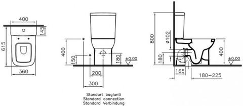 Унитаз-компакт Vitra S20 с сиденьем микролифт и фальшбиде (9800B003-7205)