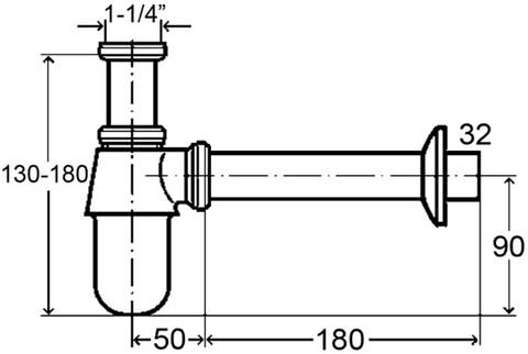 Сифон Viega Сифон для умывальника латунный (хром) с пробкой 366681