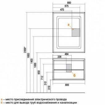 Тумба для умывальника Римини 80 черн.глянец (1A138301RN950)