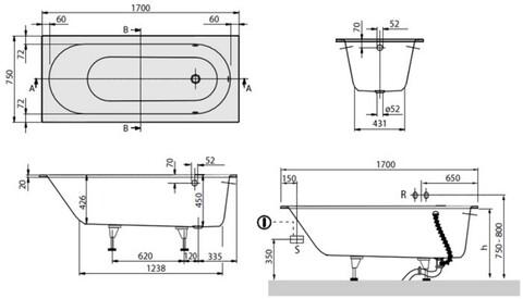 Ванна квариловая Villeroy & Boch Oberon 170x75 с ножками (UBQ170OBE2V-01)