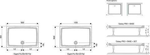 Душевой поддон Ravak Gigant Pro Flat 100х80 см (XA03A411010)