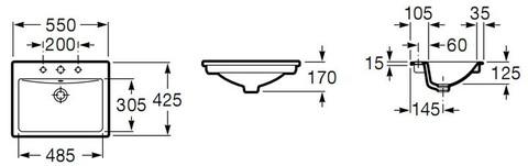 Умывальник врезной Roca DIVERTA 55x42 (327116000)
