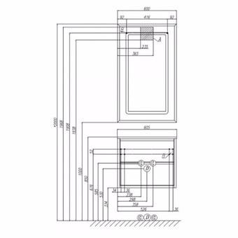 Тумба для умывальника Акватон Римини 60 черный глянец (1A177701RN950)