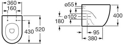 Унитаз приставной Roca Meridian-N 347247000 36x52, Vario выпуск