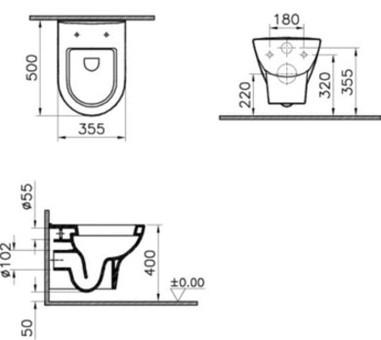Унитаз подвесной Vitra Zentrum без сиденья (5785B003-0075)