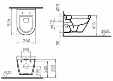 Унитаз подвесной Vitra S50 без сиденья с функцией биде (5318B003-0850)