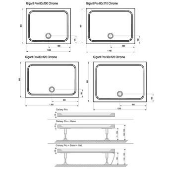 Душевой поддон Ravak Gigant Pro 110x80 см chrome (XA04D401010)