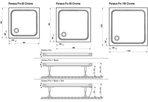 Душевой поддон Ravak Perseus Pro 80 80x80 см chrome (XA044401010)