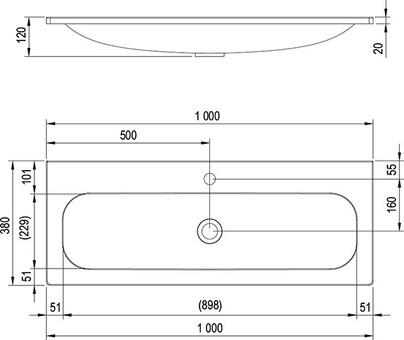Умывальник Ravak Ring 1000 100x38 (XJK01110000)
