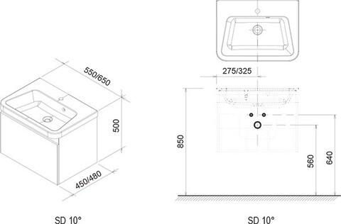Тумба под умывальник Ravak Тумба под умывальник 10° 650 (темно-ореховый) [X000000738] (X000000738)