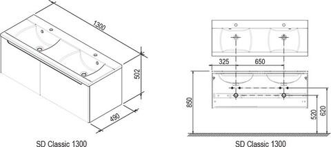 Тумба под умывальник Ravak Тумба под сдвоенный умывальник CLASSIC 130X49X49 береза/белый (X000000423)