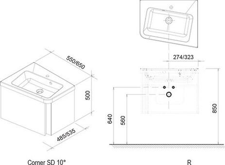 Тумба под умывальник Ravak Тумба под умывальник 10° 550 R (темно-ореховый) [X000000744] (X000000744)