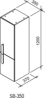 Шкаф-пенал Ravak Шкаф-пенал SB 350 CHROME 35X37X120 L белый (X000000542)