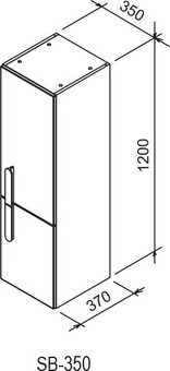 Шкаф-пенал Ravak Шкаф-пенал SB 350 CHROME 35X37X120 R каппучино/белый (X000000967)