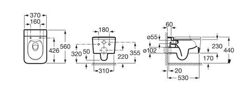 Унитаз подвесной Roca Inspira A34653700 37x56 безободковый