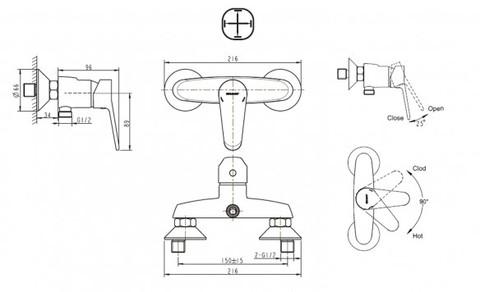 Смеситель для ванны и душа Bravat Eco (F9111147C-01)