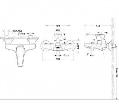 Смеситель для ванны и душа Bravat Line (F65299C-1)