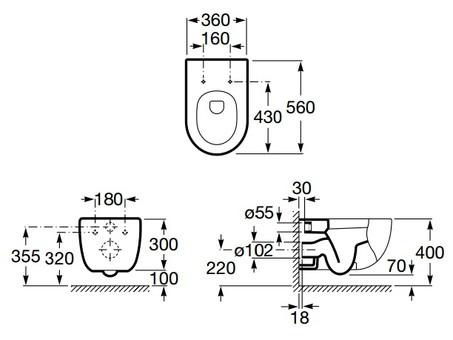 Унитаз подвесной Roca Meridian A34624L000 36x56 безободковый