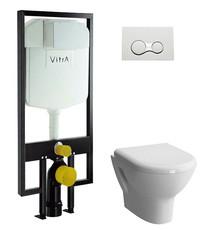 Унитаз Vitra Zentrum в комплекте с инсталяцией, кнопкой глянец и сиденьем микролифт (9012B003-7206)