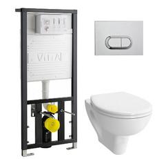 Унитаз подвесной Vitra S20 Rim-ex в комплекте с сиденьем микролифт и инсталляцией (9004B003-7202)