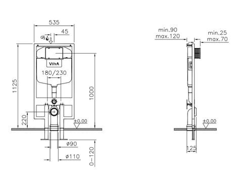 Унитаз подвесной Vitra S50 в комплекте с сиденьем микролифт и инсталяцией 3/6л (9003B003-7200)