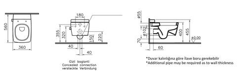 Унитаз подвесной Vitra Metropole Rim-ex (безободковый) без сиденья (7672B003-1086)