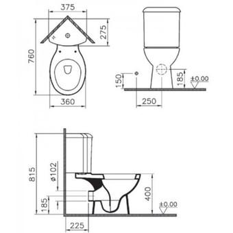 Унитаз угловой Vitra Arkitekt в комплекте с сиденьем (9754B003-7200)