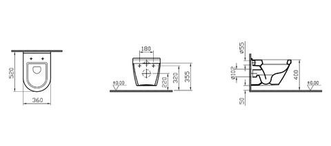 Унитаз подвесной Vitra S50 без сиденья (5318B003-0075)