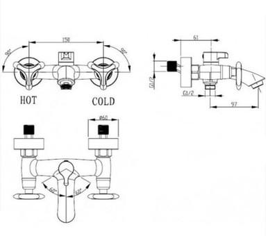 Смеситель для ванны и душа Kaiser Trio (57022-1)