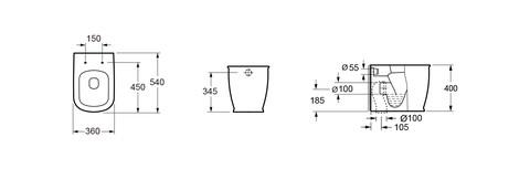 Унитаз приставной Lavinia Boho Bell Pro с пневмокрышкой (33010030)