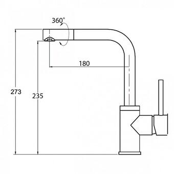 Смеситель для кухни Aquasanita Forte 5553 601 black metallic (5553 601 BLM) (черный металлик)