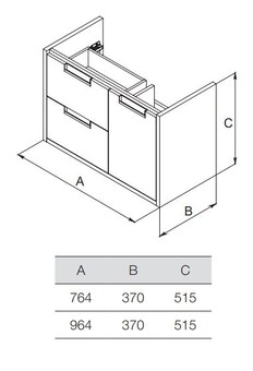 Модуль для раковины Roca Etna 76,4x37x51,5 белый глянец