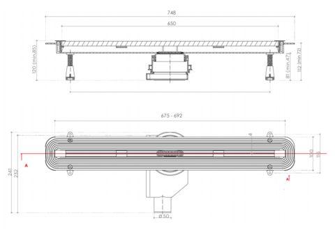 Душевой лоток Pestan Confluo Slim Line 650 (13100033)