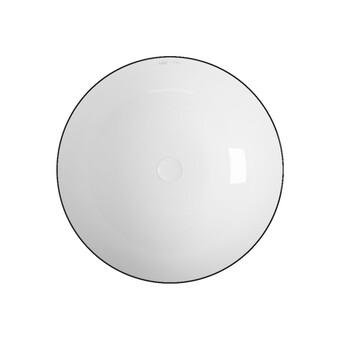 Раковина накладная OWL Line белая круглая с черным кантом 400*400*135