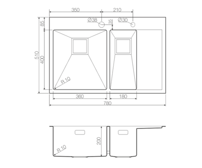 Кухонная мойка Omoikiri Akisame 78-2-LG-L