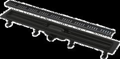 Водоотводящий желоб с порогами для перфорированной решетки, черный-мат 650 мм